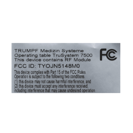 TS7500 Label, Fcc
