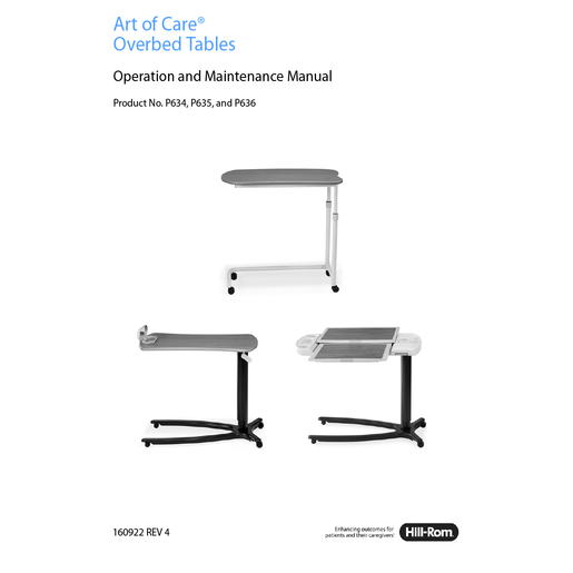 Service Manual, Art of Care OB Tables