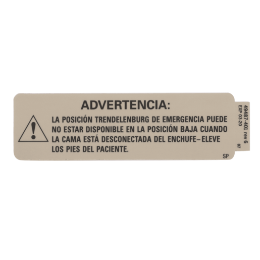 Label, Emerg Trend Warning, Spanish
