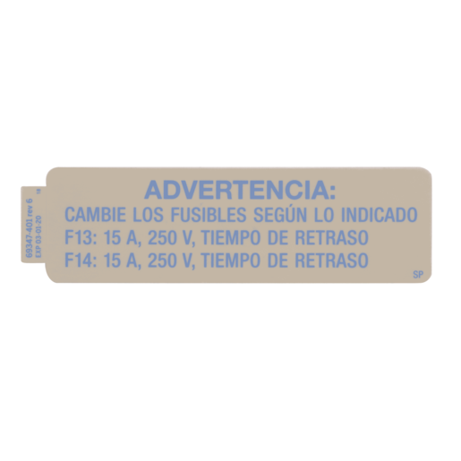 Label, Fuse, 120V Bed, Spanish